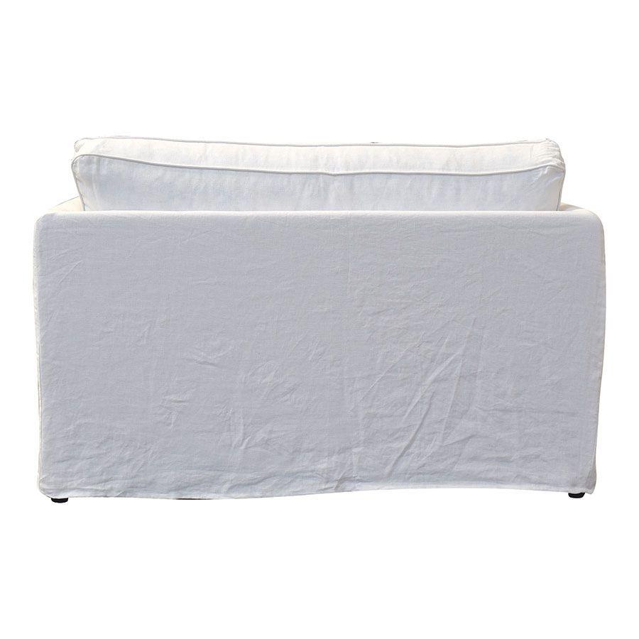 Canapé convertible 2 places en lin froissé blanc - mini Welsh