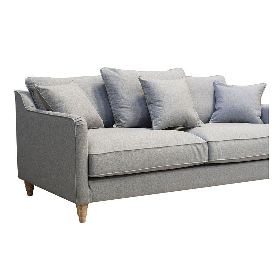Canapé 4 places en tissu gris clair - Rivoli