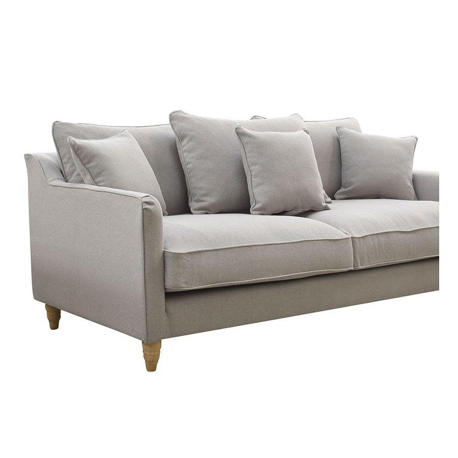 Canapé 4 places en tissu gris clair- Rivoli