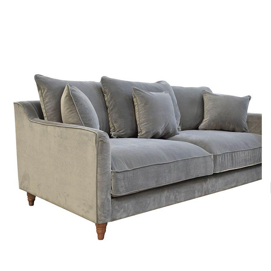 Canapé 4 places en velours gris taupe- Rivoli