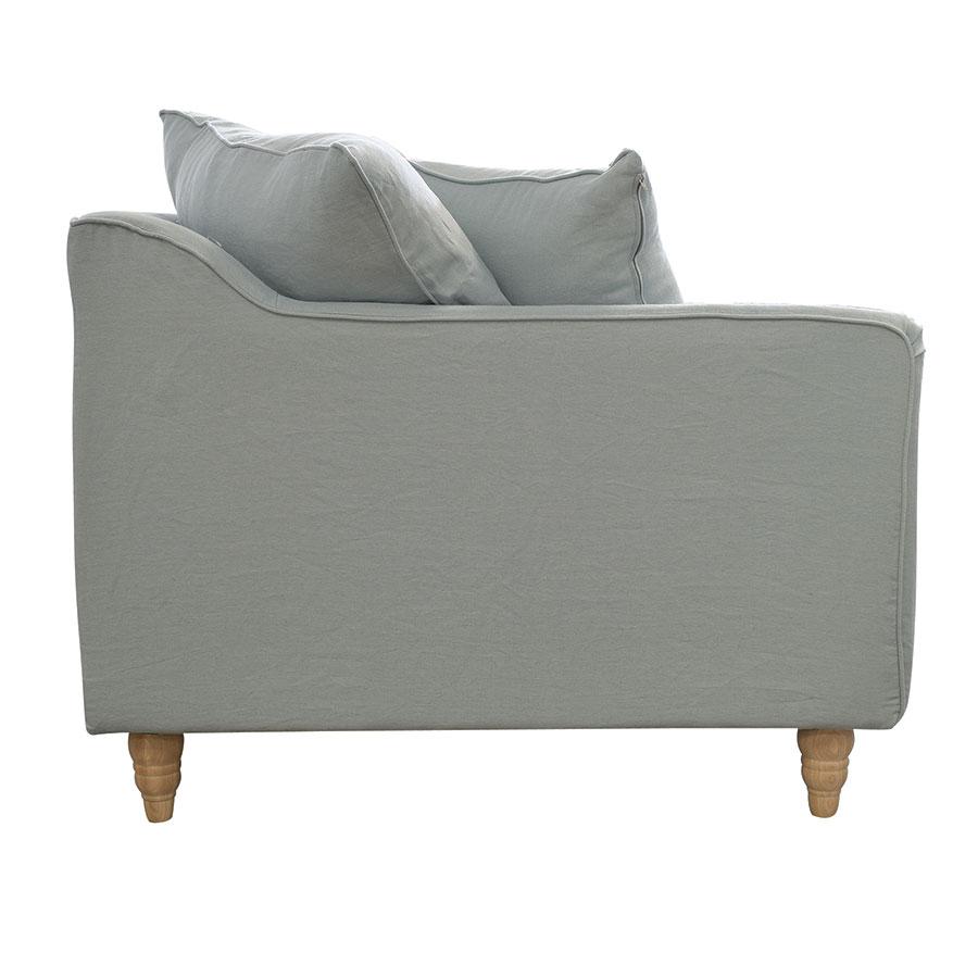 Canapé 4 places en lin froissé vert grisé - Rivoli
