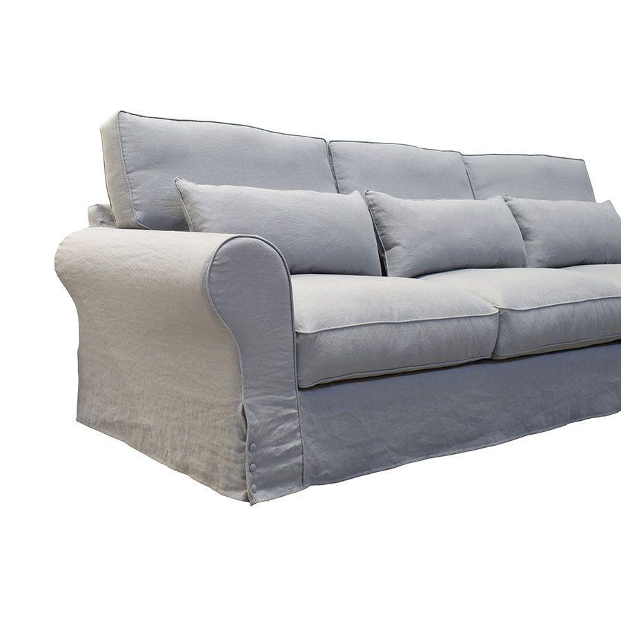 Canapé 5 places en lin froissé gris clair - Newport