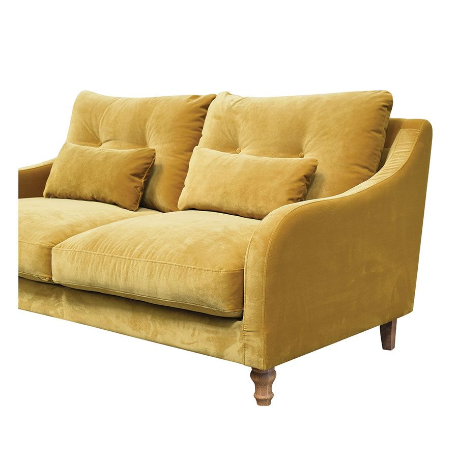 Canapé 3 places en velours moutarde - Vendôme