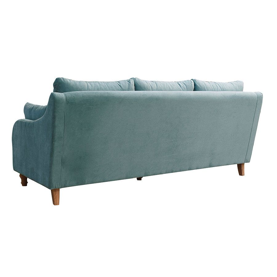 Canapé 4 places en velours turquoise  - Vendôme
