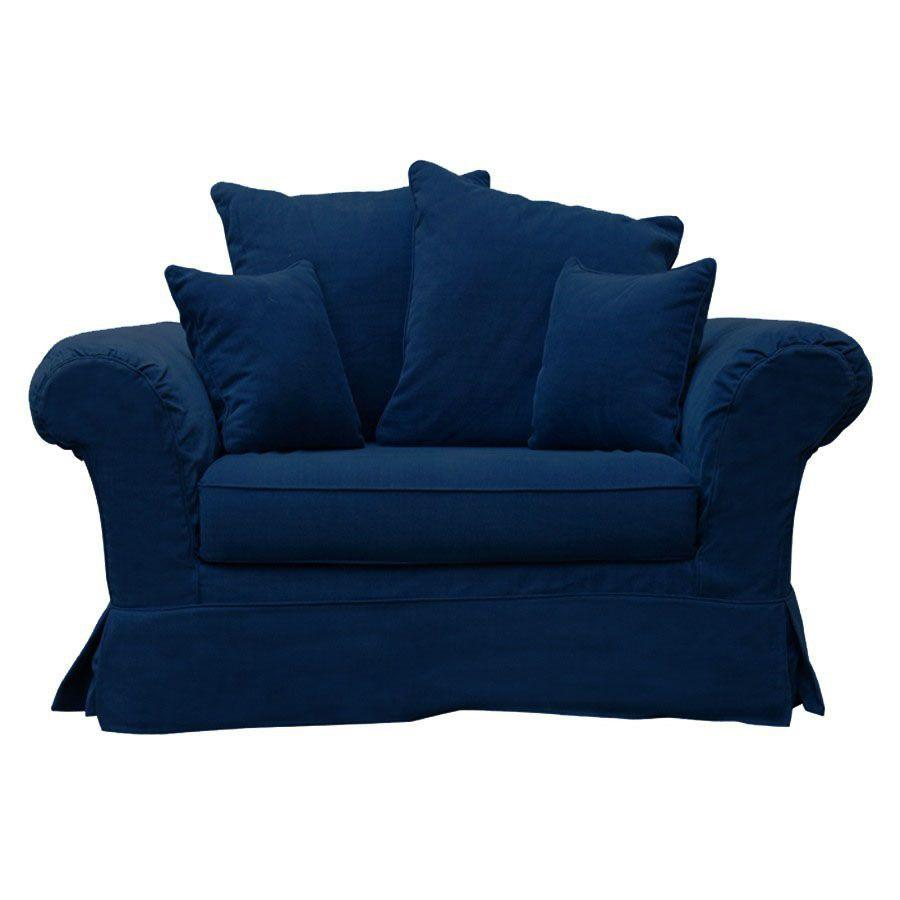 Fauteuil en tissu bleu foncé -British Love Seat