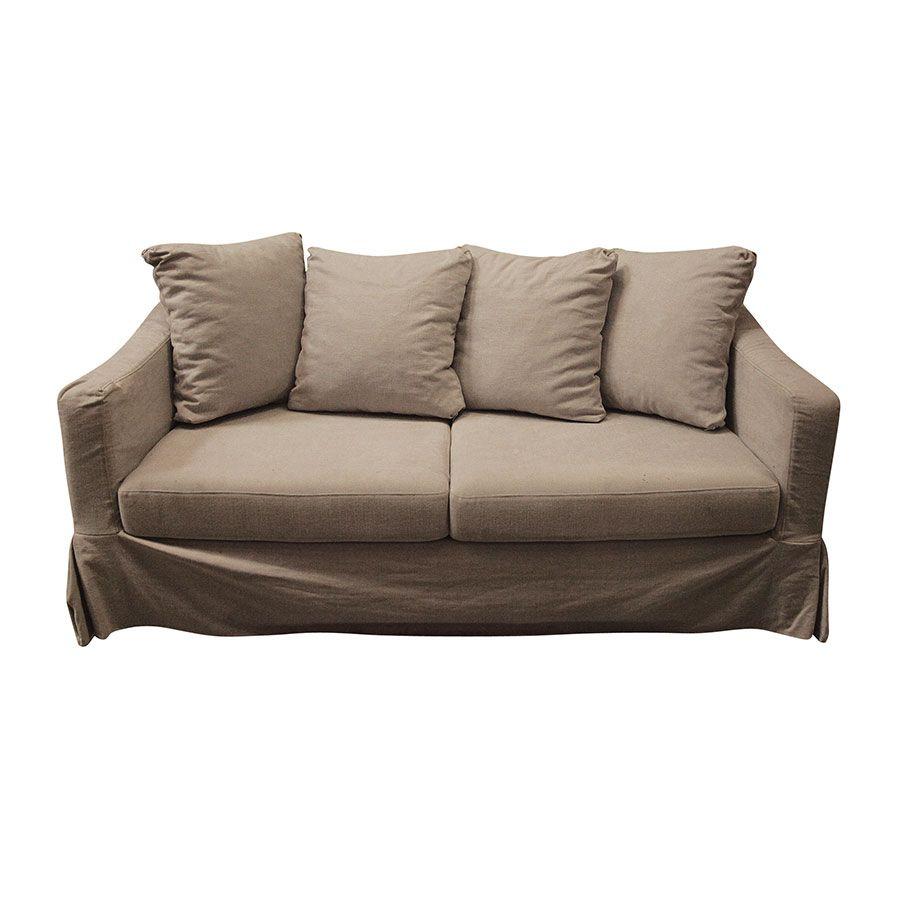 Canapé droit 3 places Beige Tissu Moderne Confort
