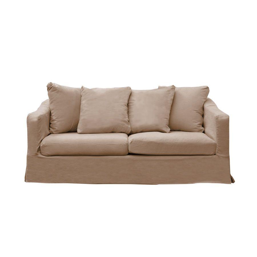 Canapé fixe 3 places en tissu sable - Cleveland
