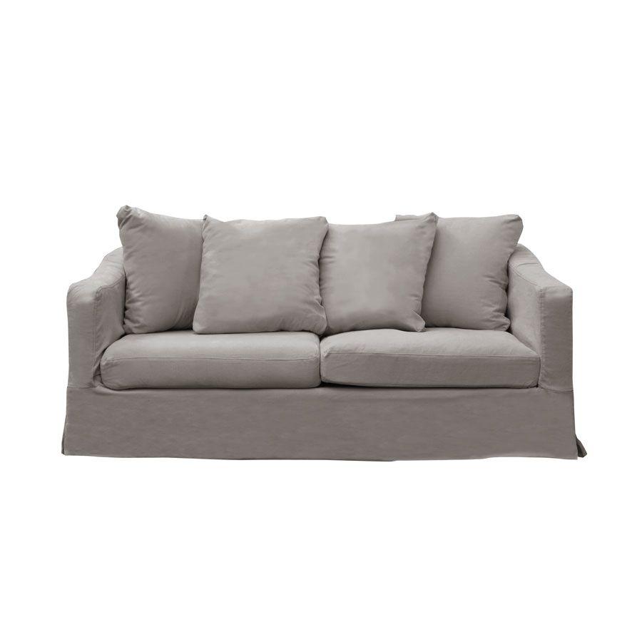 Canapé fixe 3 places en tissu gris - Cleveland