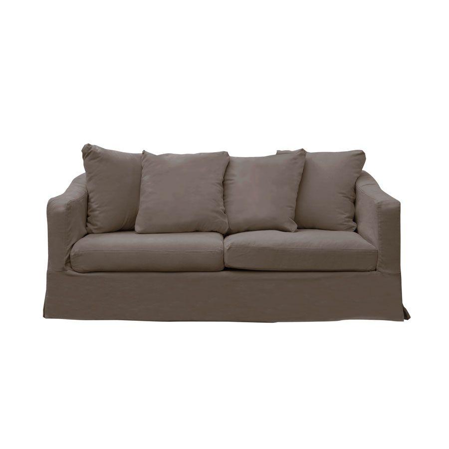 Canapé fixe 3 places en tissu taupe - Cleveland