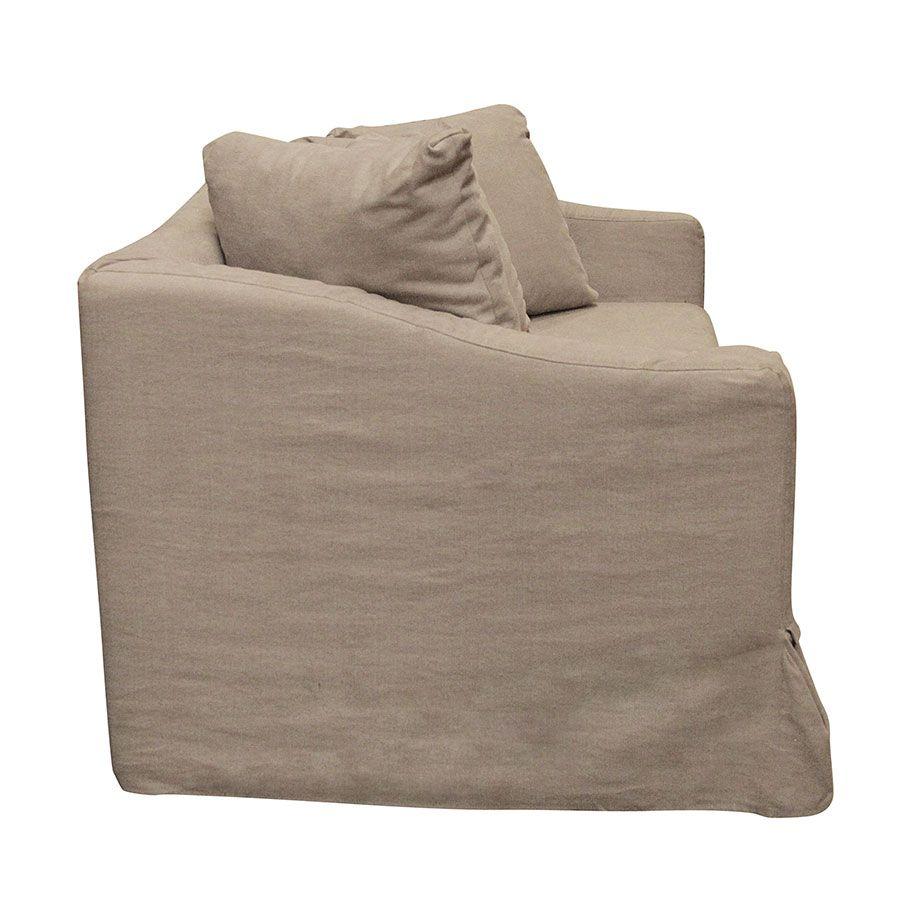 Canapé 3 places en tissu beige - Cleveland