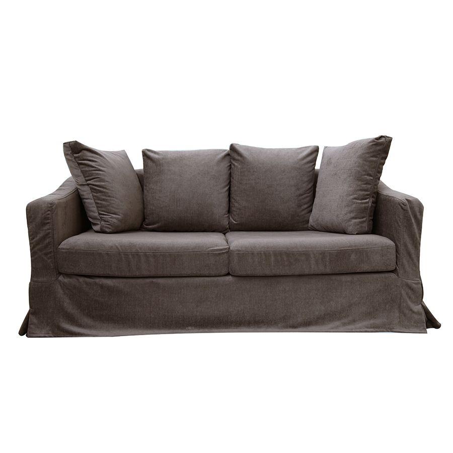 Canapé 3 places en tissu marron - Cleveland