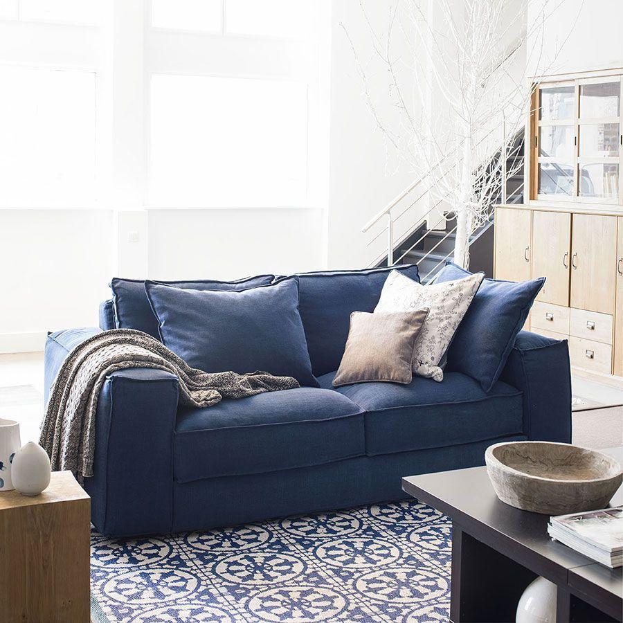 Canapé 3 places en tissu bleu foncé - Hudson XL