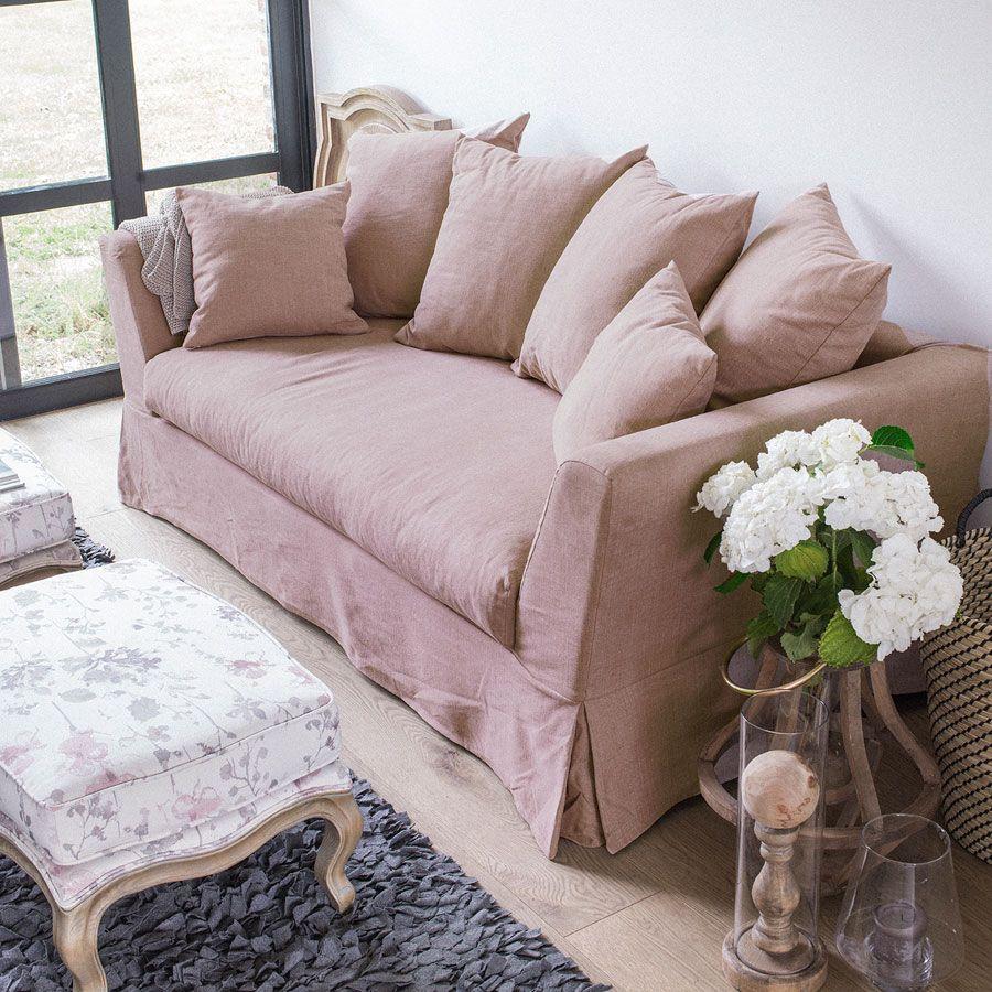 Canapé 3 places en tissu rose - Lismore