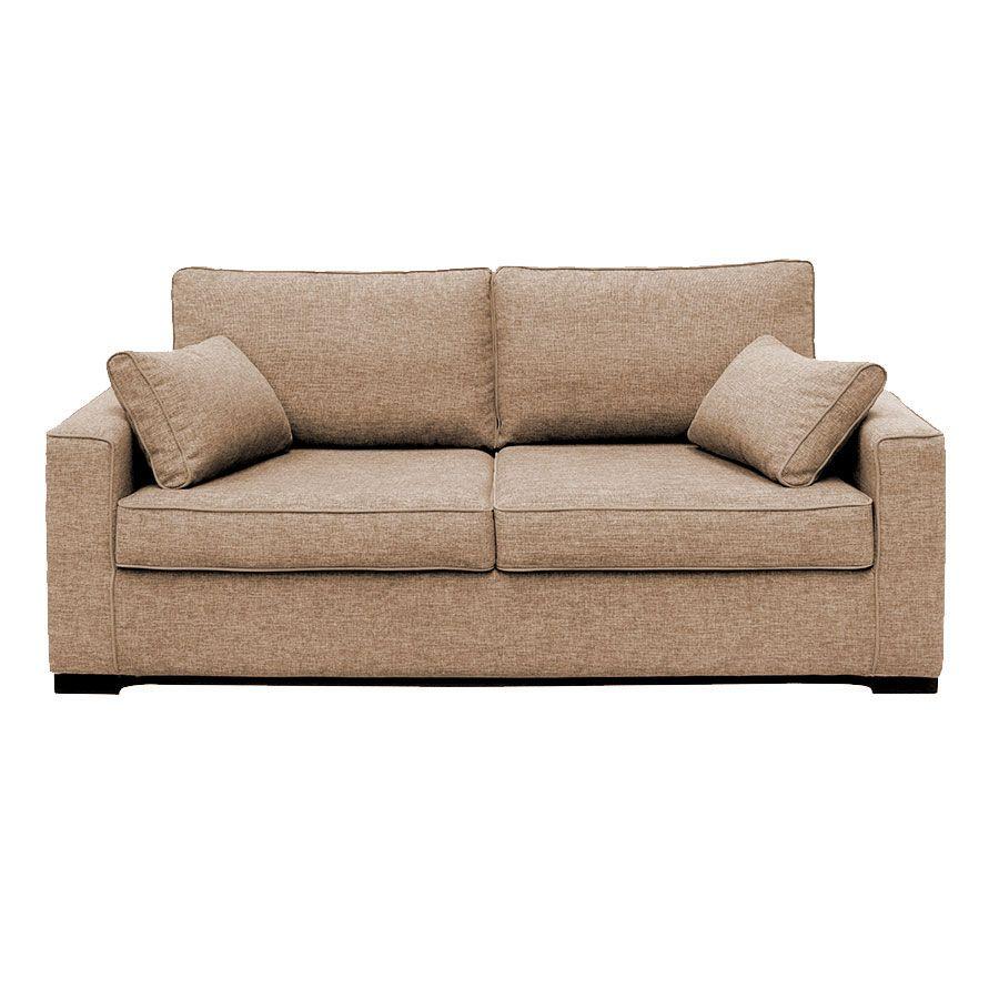 Canapé 3 places en tissu beige - Malcolm
