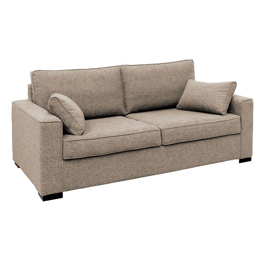 Canapé 3 places en tissu chiné beige - Malcolm