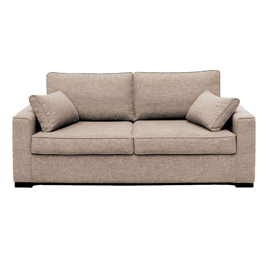Canapé 3 places en tissu beige mellow perle - Malcolm