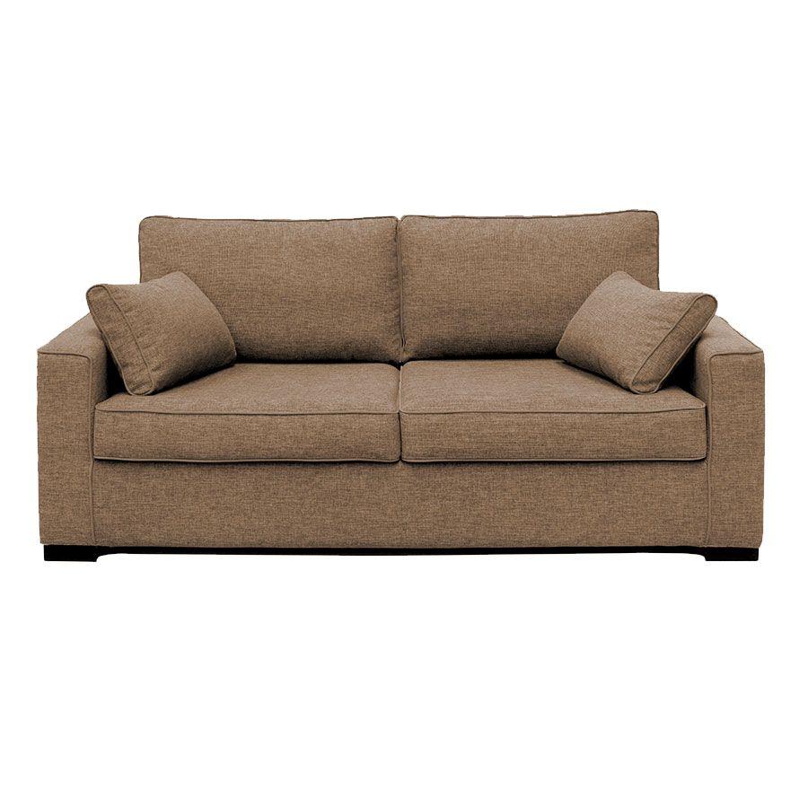 Canapé 3 places en tissu beige perle - Malcolm