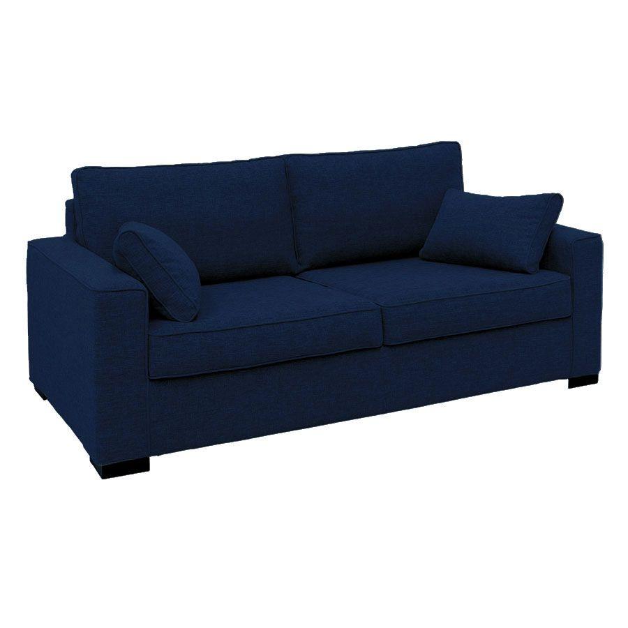 Canapé 3 places en tissu bleu nuit - Malcolm