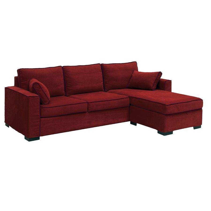 Canapé d'angle 5 places en tissu tomette - Malcolm