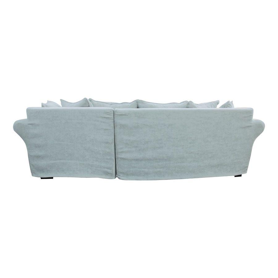 Canapé d'angle convertible 5 places en tissu bleu - Melbourne