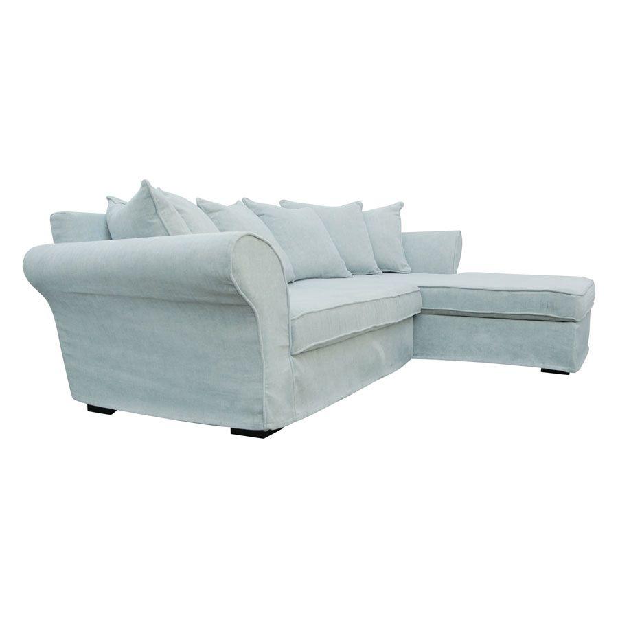 Canapé d'angle convertible 5 places bleu en tissu - Melbourne