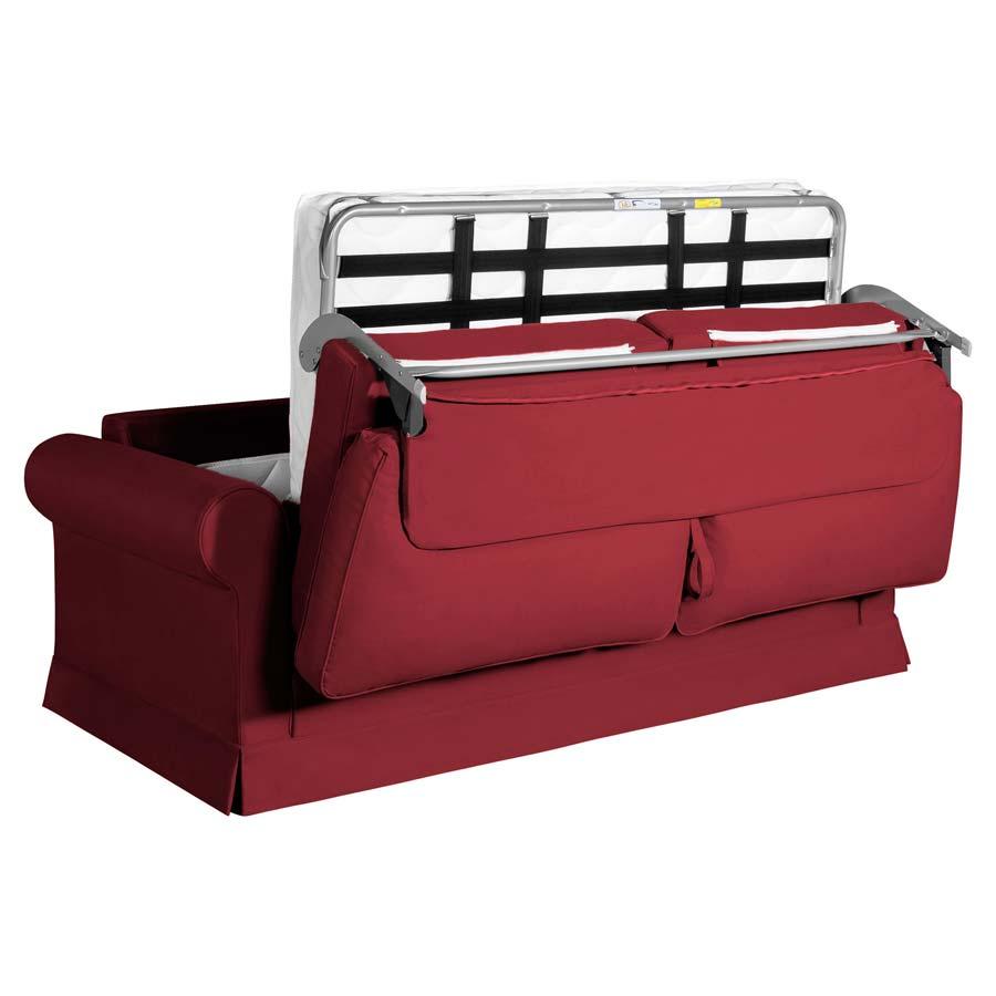 Canapé convertible 3 places en tissu rouge - Montana