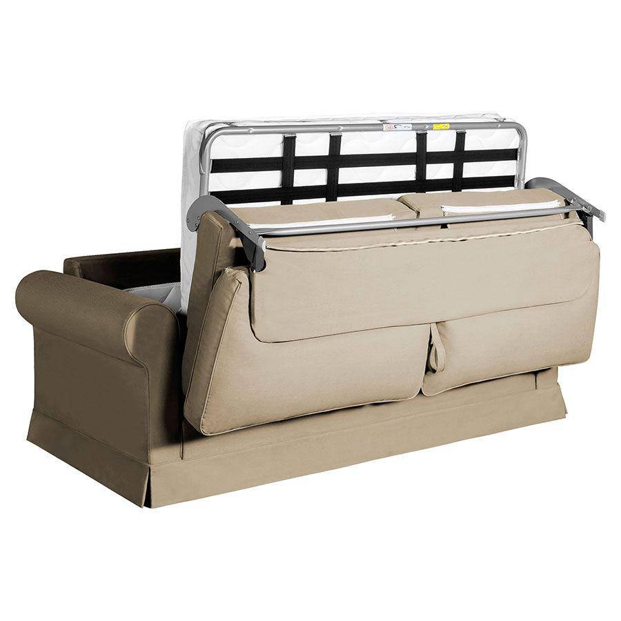Canapé convertible 3 places en tissu beige mastic - Montana