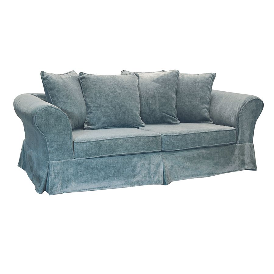 Canapé fixe 3 places en tissu bleu eucalyptus - Wilson