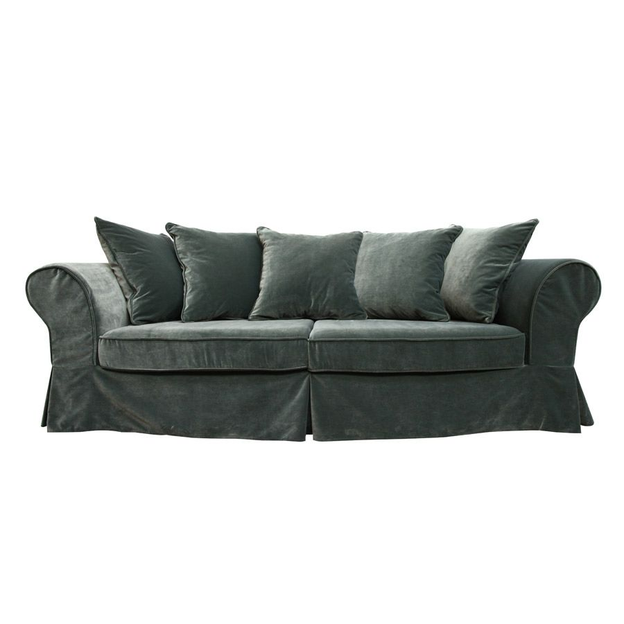 Canapé convertible 4 places en tissu vert - Wilson