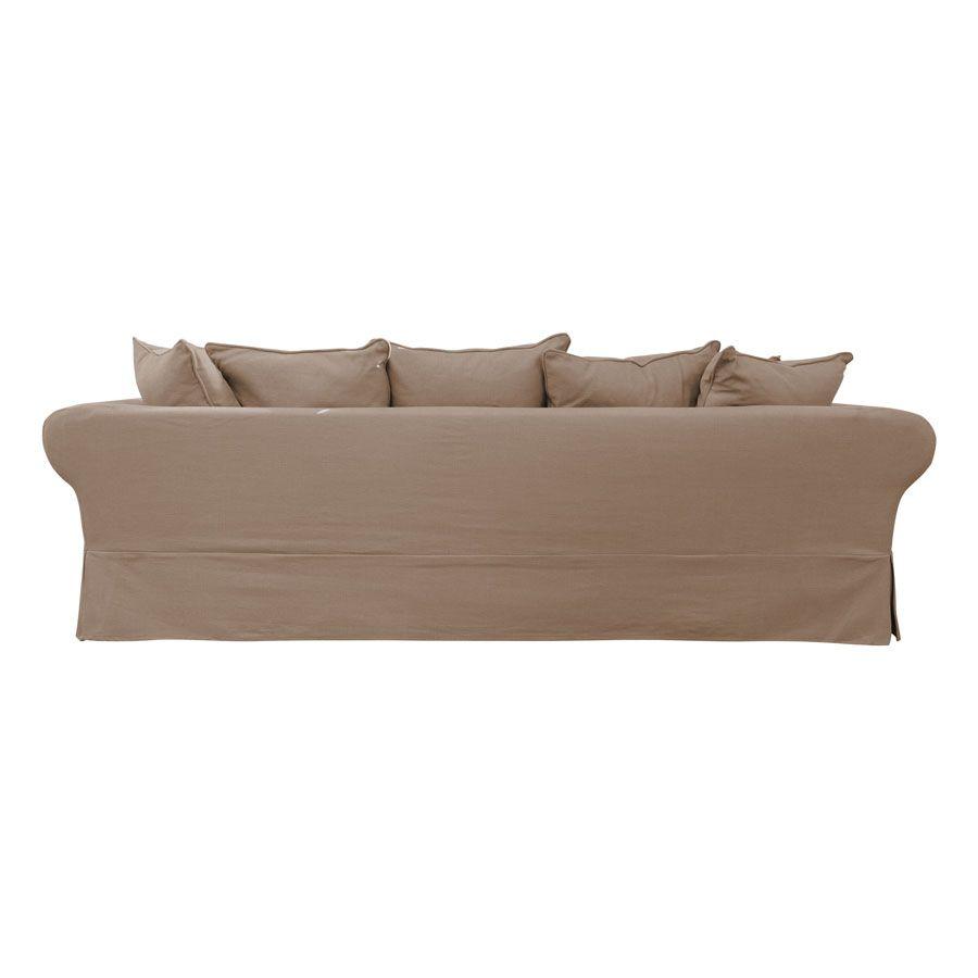 Canapé d'angle 5 places en tissu beige - Wilson II