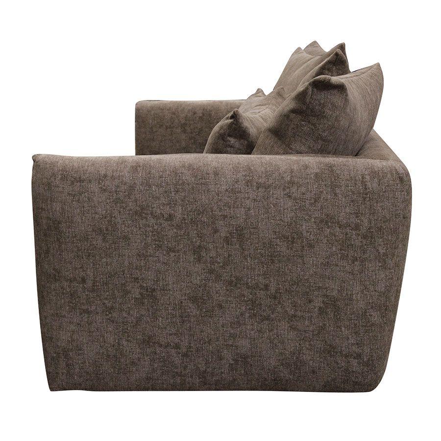 Canapé 3 places fixe en tissu marron - Malaga