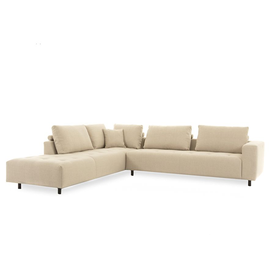 Canapé d'angle en tissu beige - Bergamo