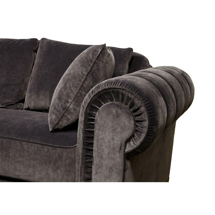 Canapé convertible 2 places en tissu gris anthracite - Bellagio