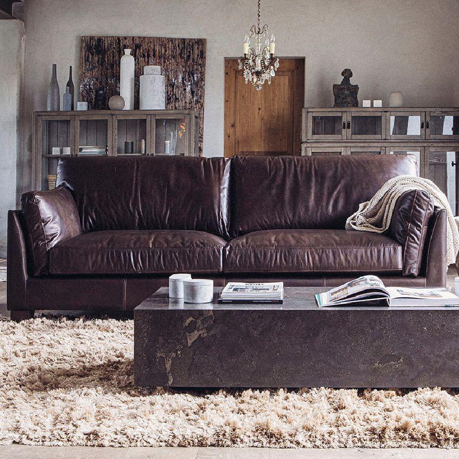 Canapé en cuir 3 places marron foncé - Canberra