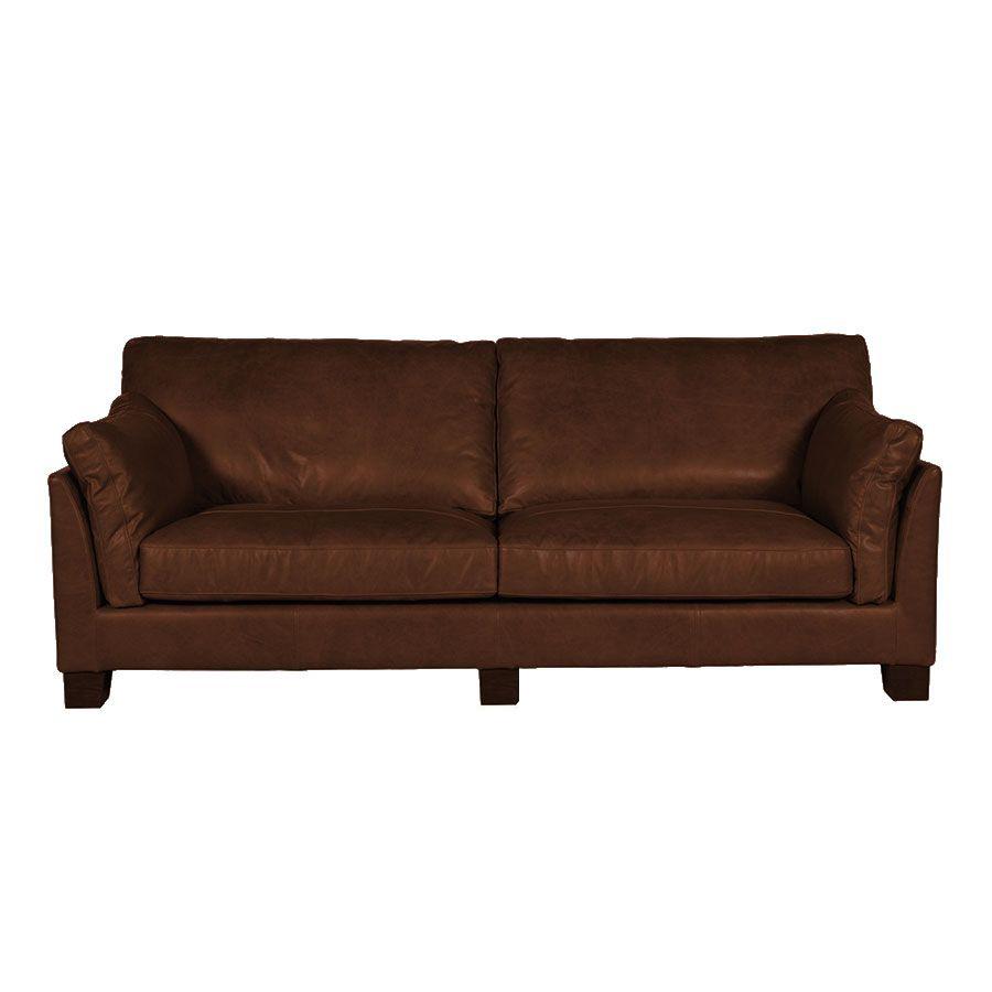 Canapé en cuir 3 places marron - Canberra