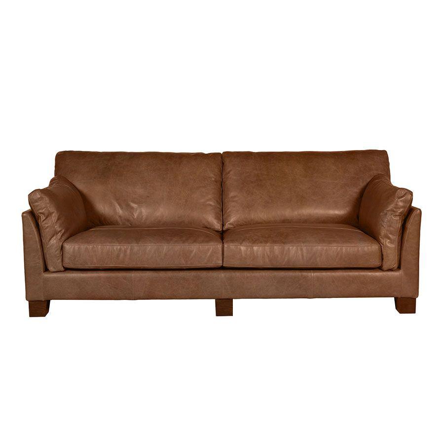 Canapé en cuir marron vieilli 3 places - Canberra