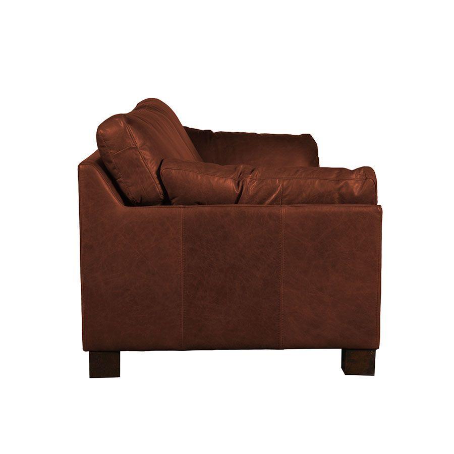Canapé en cuir 3 places marron Riders Mocha - Canberra