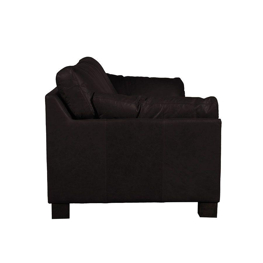 Canapé en cuir 3 places noir Napinha Ebony - Canberra