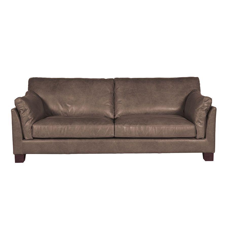Canapé en cuir 3 places gris Napinha Graphite - Canberra