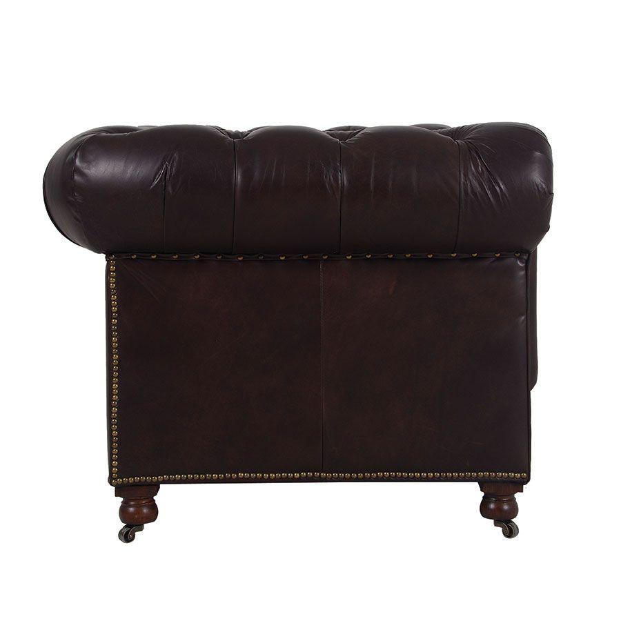 Canapé chesterfield en cuir 2 places antic tobacco - Coventry