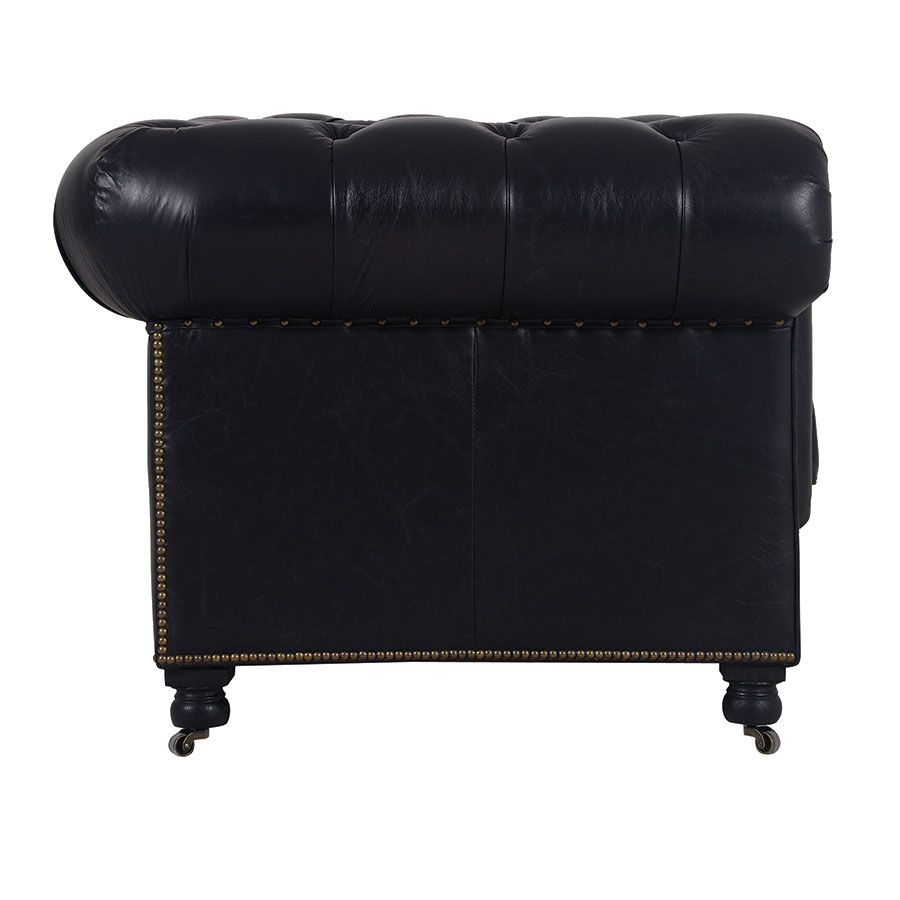 Canapé chesterfield en cuir 2 places riders black - Coventry