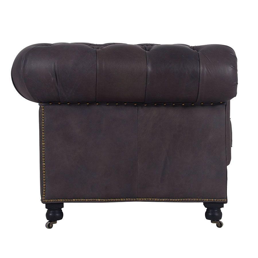 Canapé chesterfield en cuir noir 2,5 places - Coventry