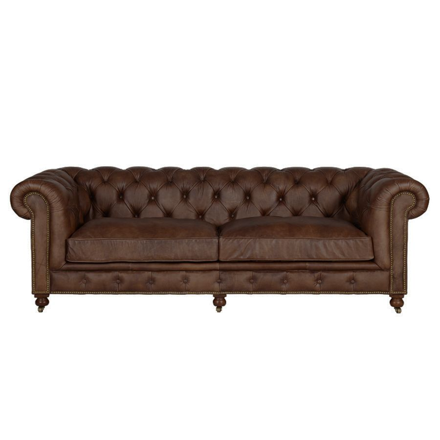 Canapé chesterfield en cuir marron vieilli 3 places - Coventry