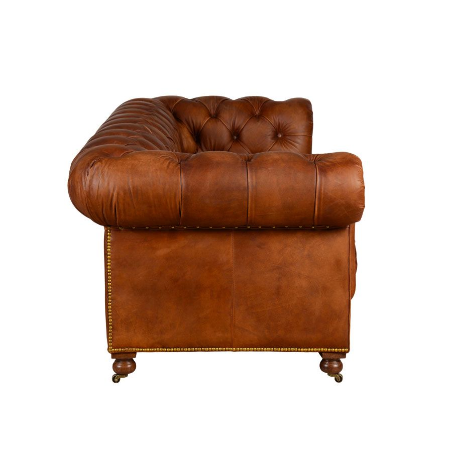 Canapé chesterfield en cuir marron clair 3 places - Coventry
