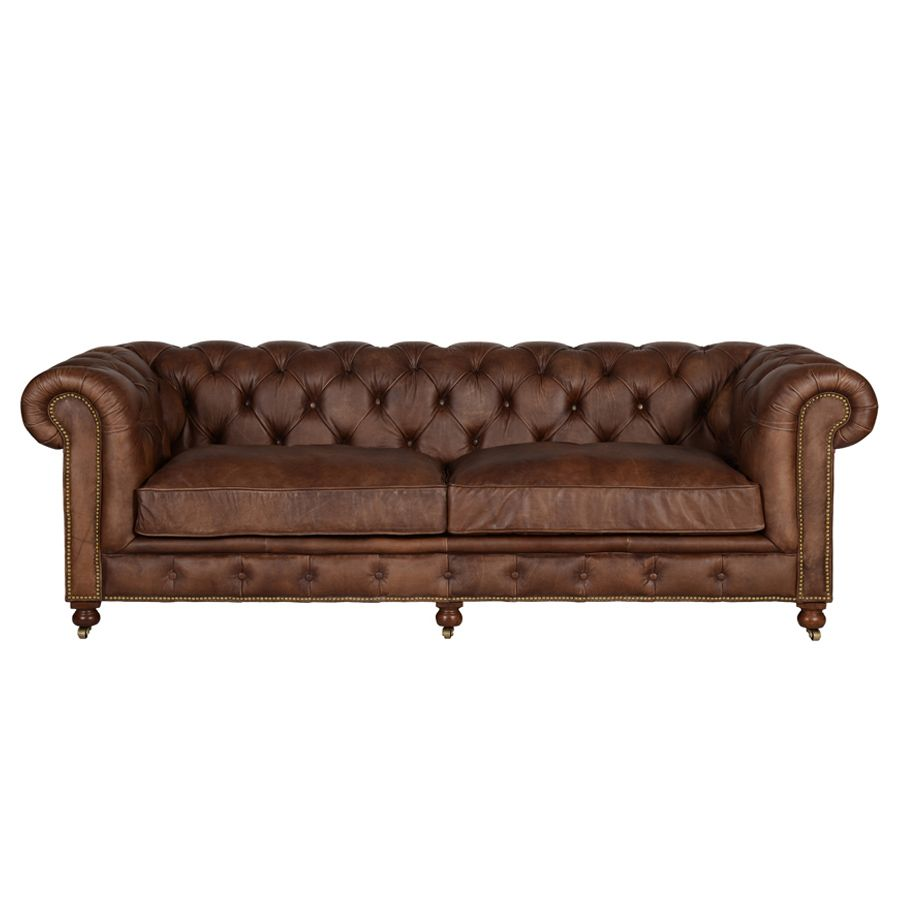 Canapé chesterfield en cuir marron 3 places - Coventry