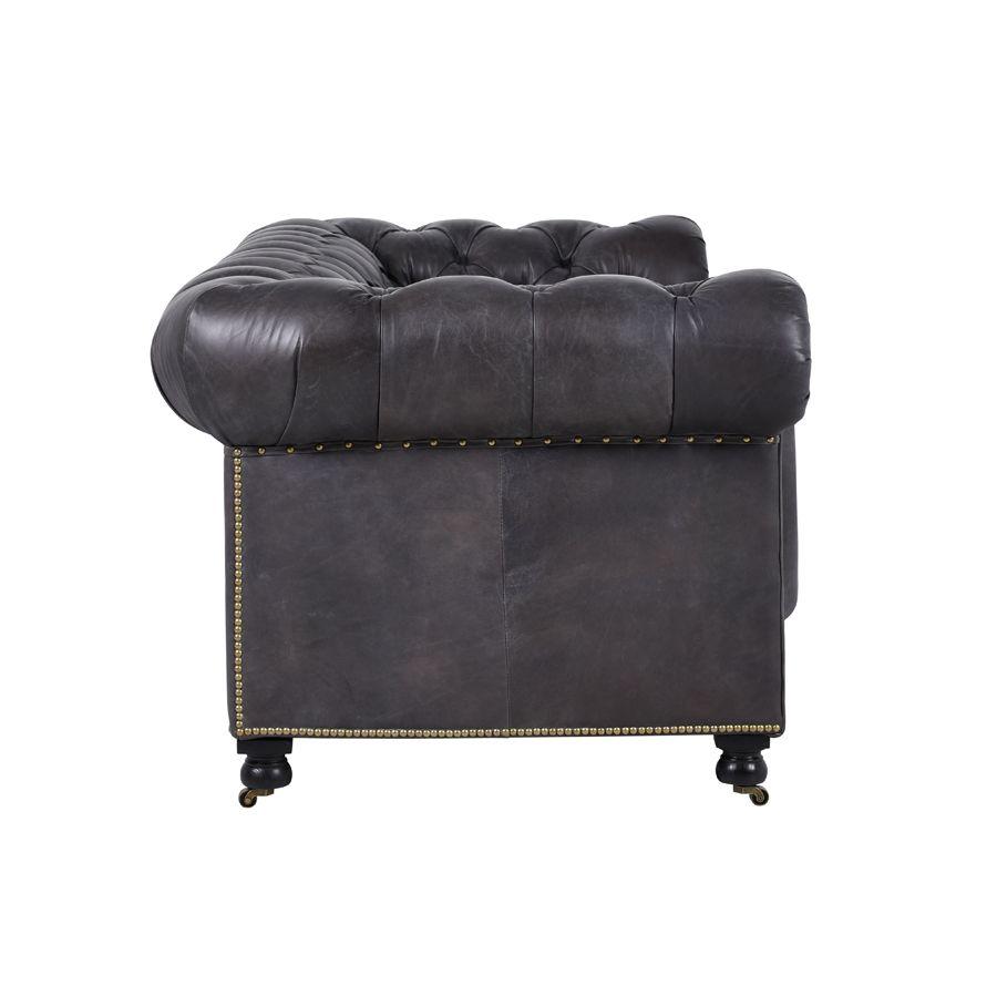 Canapé chesterfield en cuir noir vieilli 3 places - Coventry