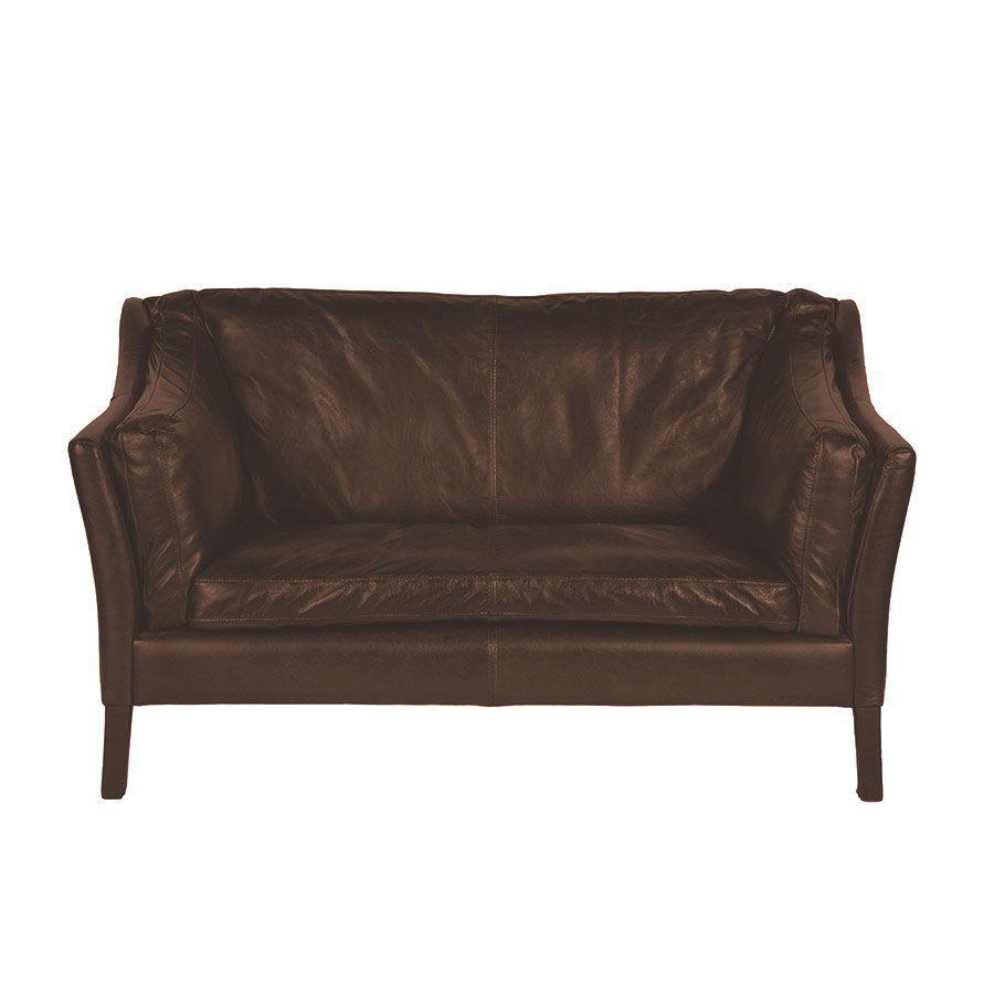 Canapé en cuir marron vieilli 2 places - Darwin