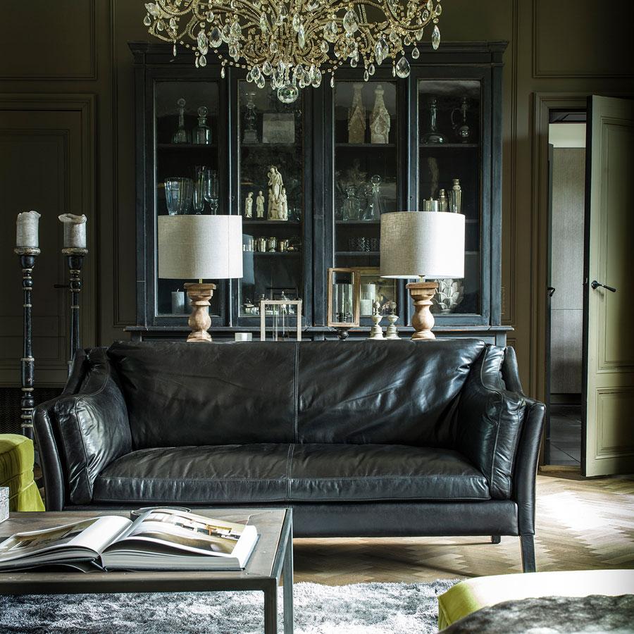 Canapé en cuir noir 2 places - Darwin