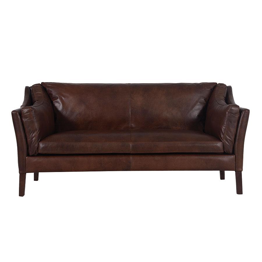 Canapé en cuir 3 places Marron Antic Whisky - Darwin