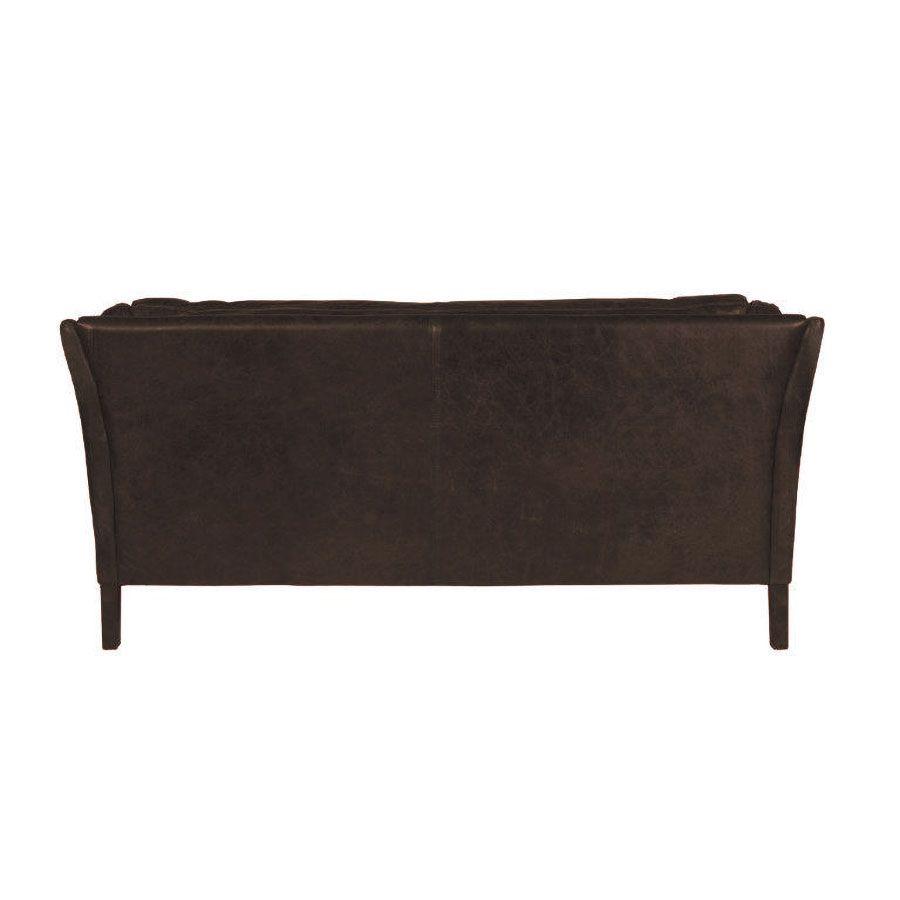 Canapé en cuir 3 places Noir Destroyed Black - Darwin